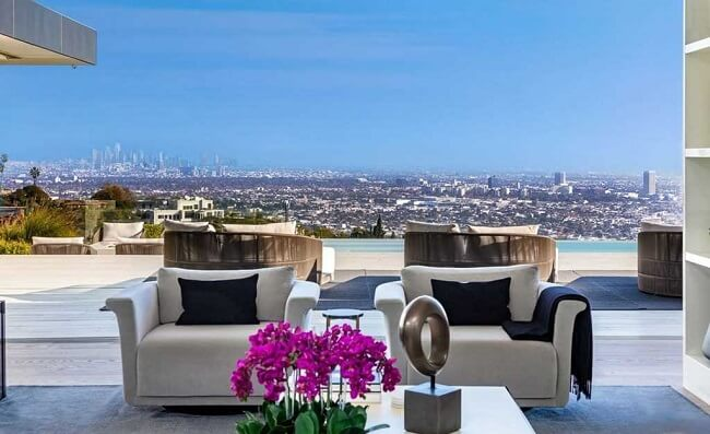 Los Angeles view from luxury Hollywood Hills home